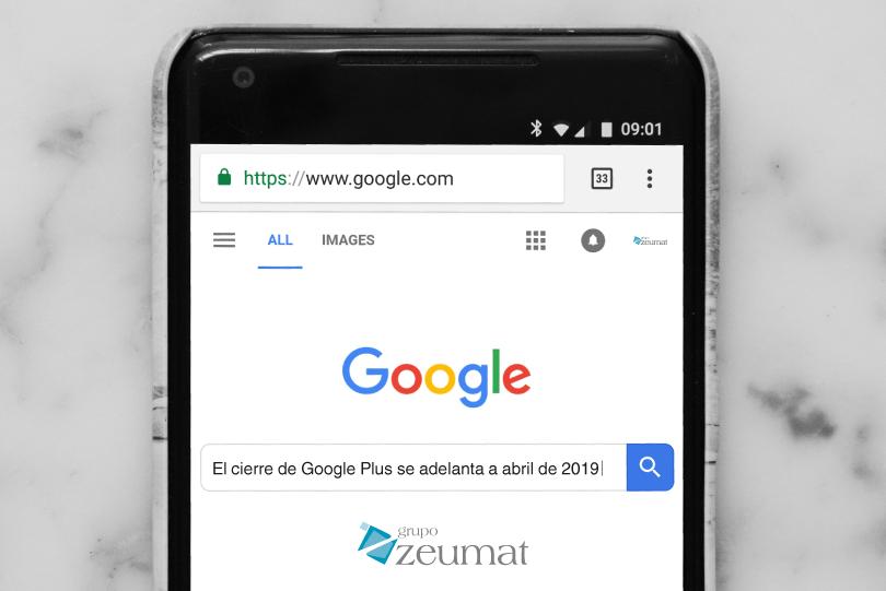 1f90238fd El cierre de Google + se adelanta a abril de 2019